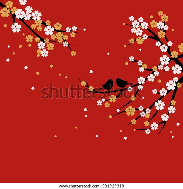 Silhouette Sakura tree with white and gold Flowers on Red Background. Branches with love birds.