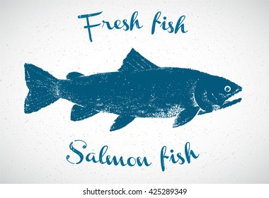 Silhouette of salmon in the graphic style, hand-drawn illustration.
