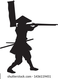 Silhouette Samurai Musketeer Shooting with Musket Riffle Gun - Vector