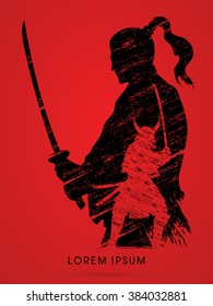 Silhouette Samurai, Ready to fight designed using grunge brush graphic vector