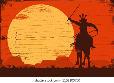 Silhouette of samurai riding horse at sunset, Vector Illustration