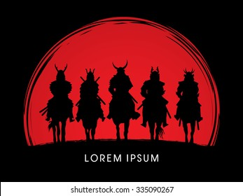 Silhouette, Samurai Warrior riding horse, on sunset background graphic vector.