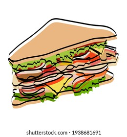 Silhouette of a sandwich. Fast food. Vector illustration.