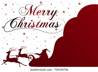 Silhouette with Santa Claus and bag full of gifts on winter background. Cartoon scene.lettering of Merry Christmas.vector