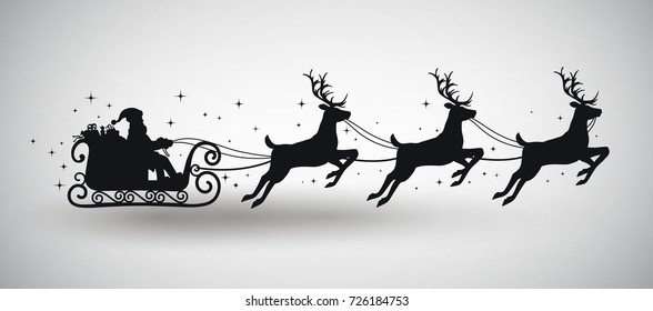Silhouette of Santa Claus Driving in a Sledge. EPS 10 contains transparency.
