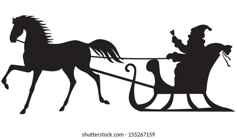 Silhouette of Santa Claus sitting in a sleigh, horse who pull