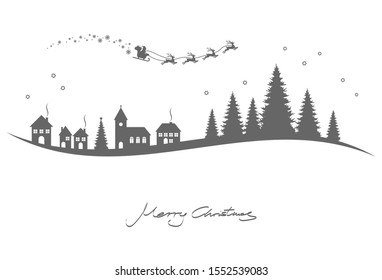 silhouette of Santa Claus with sled and reindeers over a church, houses and conifers isolated on white background with christmas and new year greetings