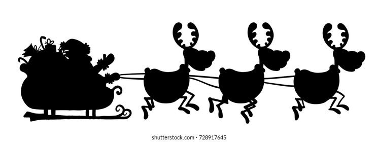 silhouette of santa and deer