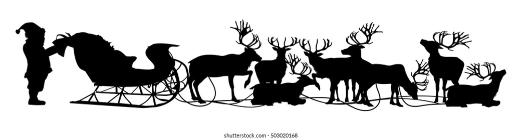 Silhouette of Santa and his reindeer are preparing for their Christmas trip