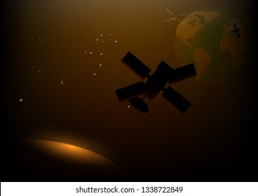 Silhouette of  satellite on outer space