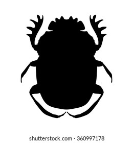 silhouette scarab. silhouette Geotrupidae dor-beetle .silhouette dor-beetle scarab isolated on white background.scarab, dor-beetle. Vector illustration