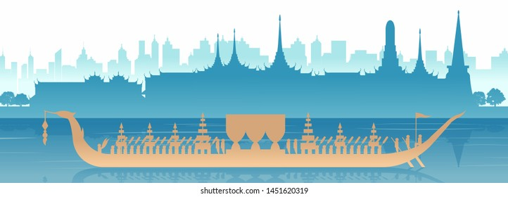 Silhouette scenery of royal Thai boat row in river in Bangkok,capital city of Thailand,hardly to seen ceremony,vector illustration