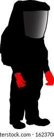 Silhouette of a scientist in a hazmat suit. Vector illustration.