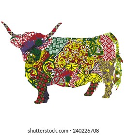 silhouette of a Scottish highland cow in Celtic patterns