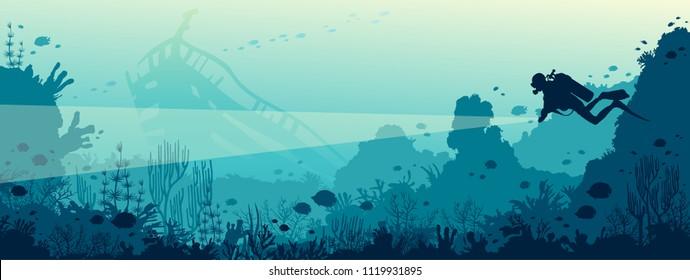 Silhouette des Tauchers mit Laterne und Korallenriff mit Fischen auf blauem Meer. Vektorgrafik. Meeresunterwasser-Leben. Wrack Tauchen.