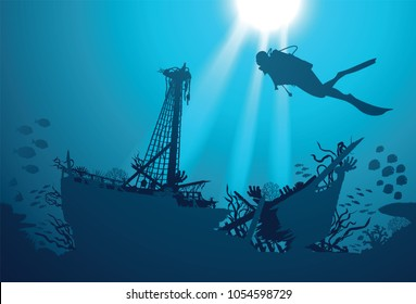 Silhouette scuba diver and shipwreck on the background. Underwater.
