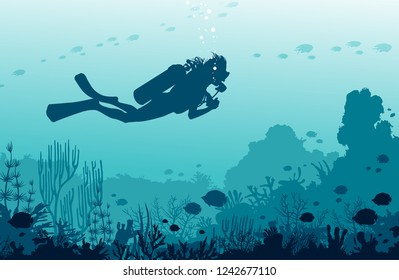 Silhouette of scuba diver swimming near the coral reef and fishes on a blue sea background. Vector tropical illustration with underwater marine wildlife. Water sport.