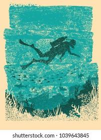 Silhouette of scuba diver swimming underwater.Vintage sea poster