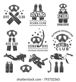 Silhouette of scuba and divers. Labels for sea sport club. Diver emblem, underwater sport vector illustration