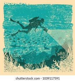 Silhouette of scuba driver with flashlight swimming underwater.Vintage sea poster