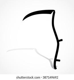 silhouette scythe with shadow/ vector illustration object