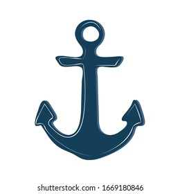 The silhouette of a sea anchor with a shadow on a white background 2