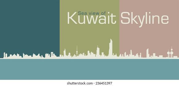 Silhouette Sea View Of Kuwait's Skyline