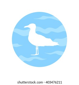 Silhouette of seagull. White bird isolated on blue sky background. Travel postcard. Summer illustration