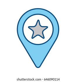 silhouette search sign with star inside icon