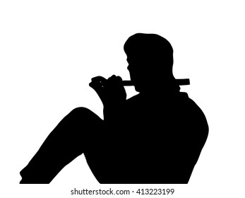 The silhouette of a seated man playing a flute