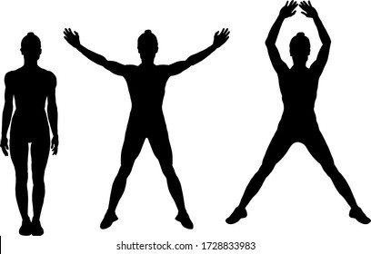 Silhouette of the sequence of a girl doing the jumping jack exercise. Vector illustration.