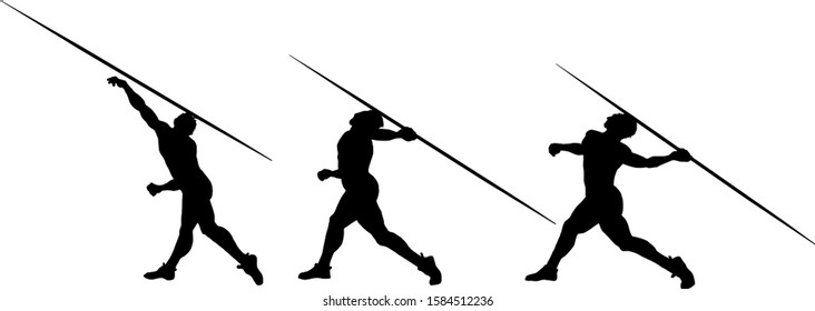 Silhouette sequence of a sportsman executing the javelin throw. Vector illustration.