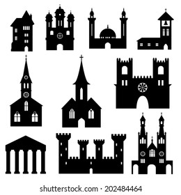 Silhouette set of churches and similar structures