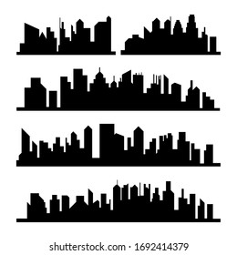 A silhouette set of cities, vector.