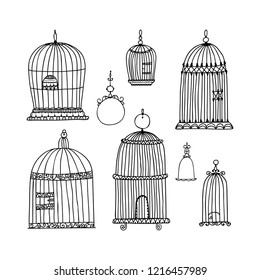 Silhouette set for decorative bird cages. Vector illustration in free hand drawn style.