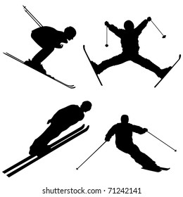 Silhouette set of different winter sports skiing part 2