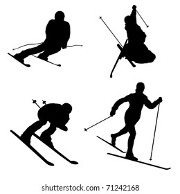 Silhouette set of different winter sports skiing part 1