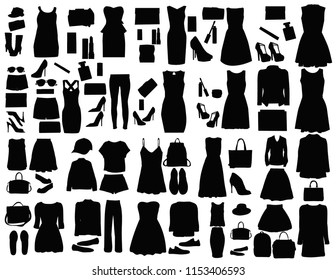 silhouette set of fashionable women clothes