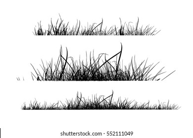 silhouette set of grass. Vector.
