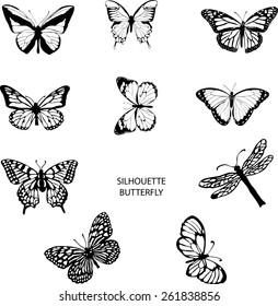 Silhouette set of isolate vector butterflies - vector illustrator
