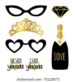 Silhouette set of party photo booth props vector elements. Champagne, crown, glasses, diamond and signs She said Yes - in american trendy word.