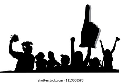 Silhouette of several fans cheering at a game. One has shakers, one a large number one finger.