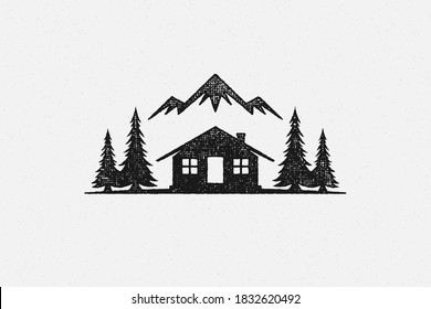 Silhouette shack hut located near coniferous forest and mountain ridge in countryside hand drawn stamp effect vector illustration. Vintage grunge texture on old paper for poster or label decoration.