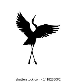 Silhouette or shadow black ink symbol of a crane bird or heron standing and dancing icon. Stork outline cutting template or creative background vector illustration isolated on white.