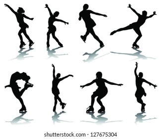 Silhouette and shadows of skating-vector