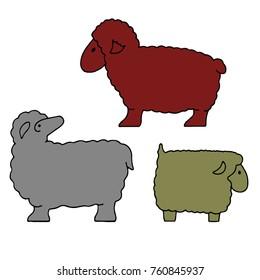 Silhouette of sheep collection (sheep sacrifice Kurban-bairam), cartoon on white background, vector