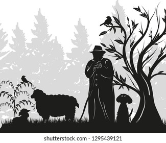 Silhouette of a shepherd with sheep and dog in springtime.