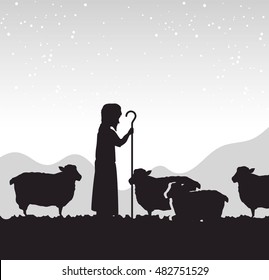 silhouette shepherd sheep manger isolated design