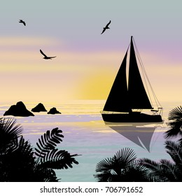 Silhouette of a ship at the sea at beautiful sunset, vector illustration