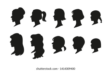 The silhouette of the side profile of various hairstyles. hand drawn style vector design illustrations.